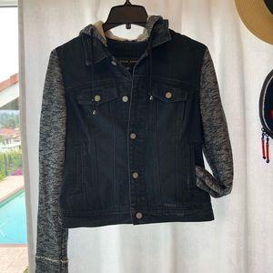 Layered Drawstring Hooded Denim Jacket w/ Pockets